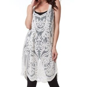 Simply Couture Cream Lace Boho Tunic One Size